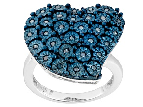 Rhodium Over Sterling Silver Blue Diamond Ring .20ctw