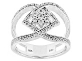 Rhodium Over Sterling Silver Diamond Ring .21ctw