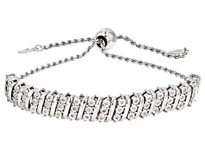 Diamond Rhodium Over Sterling Silver Bracelet .15ctw