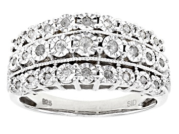Picture of White Diamond Rhodium Over Sterling Silver Ring .25ctw