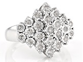 White Diamond Rhodium Over Sterling Silver Ring .50ctw