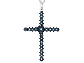 Blue Diamond Rhodium Over Sterling Silver Pendant .10ctw