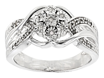 Picture of White Diamond Rhodium Over Sterling Silver Ring .10ctw