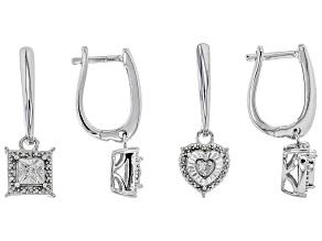 White Diamond Rhodium Over Sterling Silver Earring Set .10ctw