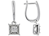 White Diamond Rhodium Over Sterling Silver Earring Set .10ctw