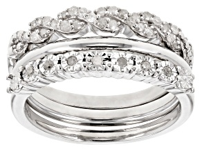 Rhodium Over Sterling Silver Diamond Ring Set of 3 .25ctw
