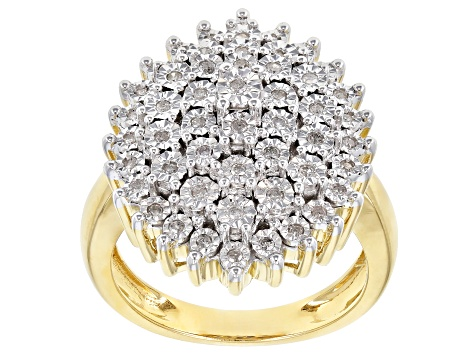 White Diamond 14K Yellow Gold Over Sterling Silver Ring 0.25ctw