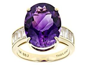 Purple Moroccan Amethyst 10k Yellow Gold Ring 7.72ctw