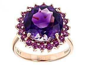 Purple Moroccan Amethyst 10k Rose Gold Ring 5.55ctw