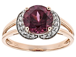 Grape Color Garnet 10k Rose Gold Ring 1.92ctw
