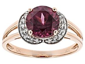 Grape Color Garnet 10k Rose Gold Ring 1.92ctw