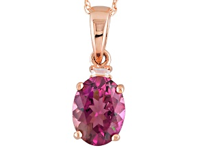 Pink Rubellite 10k Rose Gold Pendant With Chain 1.14ctw