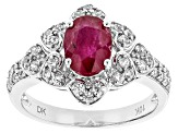 Red Ruby 10k White Gold Ring 1.66ctw