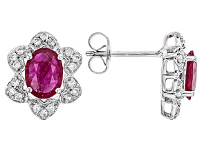 Red Ruby 10k White Gold Earrings 3.28ctw