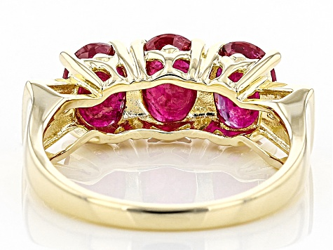 Red Ruby 10k Yellow Gold 3 Stone Ring 2.18ctw