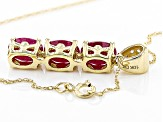 Red Ruby 10k Yellow Gold Pendant With Chain 2.18ctw