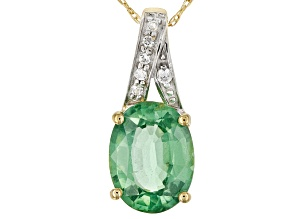 Green Kyanite 10k Yellow Gold Pendant With Chain 2.12ctw
