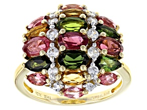 Multi-Tourmaline 10k Yellow Gold Ring 2.56ctw