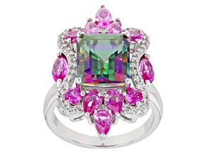 Mystic Fire(R) Green Topaz Rhodium Over Sterling Silver Ring 6.77ctw