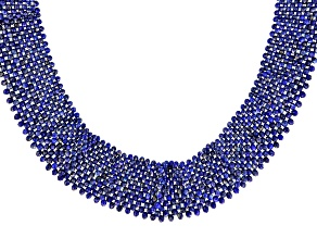 Blue lapis rhodium over sterling silver graduated necklace
