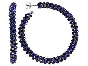 Blue Lapis Lazuli Rhodium Over Sterling Silver Hoop Earrings