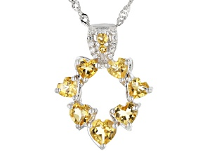 Yellow Citrine Rhodium Over Sterling Silver Pendant Chain 1.85ctw