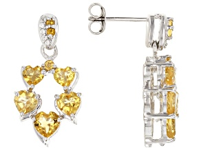Yellow Citrine Rhodium Over Sterling Silver Earrings 2.79ctw