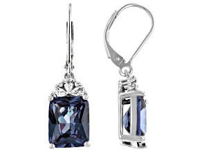 Purple Lab Created Color Change Sapphire Rhodium Over Silver Earrings 6.90ctw
