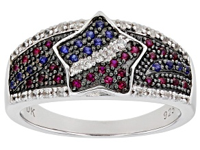Red Lab Created Ruby & Blue Sapphire Rhodium Over Silver Ring .40ctw