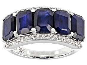 Blue Sapphire Rhodium Over Sterling Silver Ring 6.16ctw