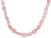Pink opal rhodium over sterling silver graduated bead necklace.