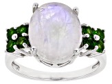 White Rainbow Moonstone Rhodium Over Sterling Silver Ring .56ctw