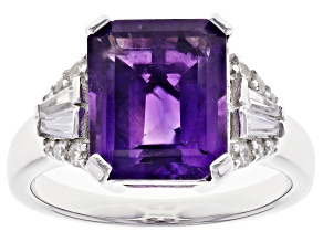 Purple Amethyst Rhodium Over Sterling Silver Ring 3.94ctw