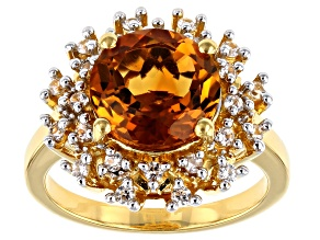 Orange Citrine 18k Gold Over Silver Halo Ring 3.39ctw