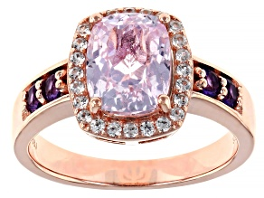 Pink kunzite 18k rose gold over sterling silver ring 2.56ctw