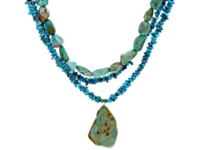 Multicolor Turquoise Rhodium Over Sterling Silver 3-Strand Necklace
