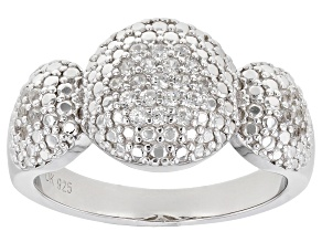 White Zircon  Rhodium Over Sterling Silver Ring 0.44ctw