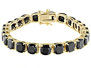 Black Spinel 18k Yellow Gold Over Sterling Silver Bracelet 38.12ctw