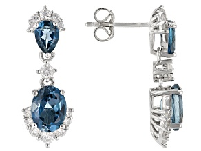 London Blue Topaz Rhodium Over Silver Dangle Earrings 4.40ctw