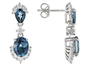 London Blue Topaz Rhodium Over Silver Dangle Earrings 4.40ctw