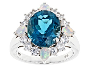 London Blue Topaz Rhodium Over Silver Ring 6.43ctw