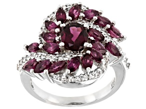 Purple Rhodolite  Rhodium Over Silver Ring 4.12ctw