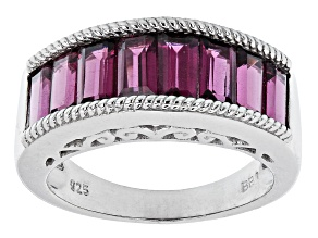 Purple Rhodolite Rhodium Over Sterling Silver Band Ring 3.48ctw