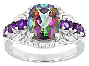 Green Mystic Topaz  Rhodium Over Silver Ring 3.62ctw