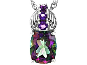 Green Mystic Topaz  Rhodium Over Silver Pendant With Chain 3.25ctw