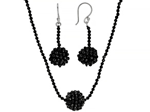 Black Spinel Rhodium Over Sterling Silver Necklace & Earring Set