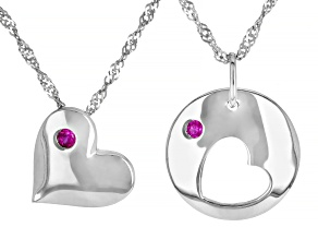 Red Lab Created Ruby Mother And Child Set Of 2 Rhodium Over Silver Pendant With Chain .03ctw