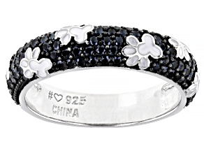 Black Spinel Rhodium Over Sterling Silver Band Ring 0.66ctw