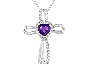 Purple Amethyst  Rhodium Over Silver Cross Pendant with Chain 1.08ctw