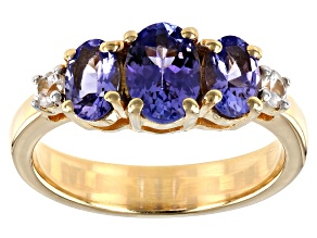 Blue Tanzanite 18K Yellow Gold Over Sterling Silver Ring 1.58ctw